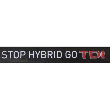Naklejka STOP HYBRID GO TDI biała na przezroczystej folii