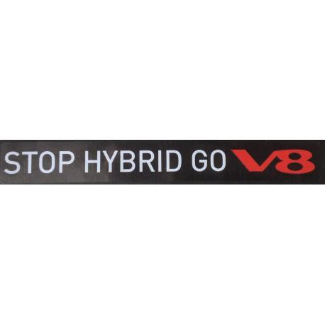 Naklejka STOP HYBRID GO V8 biała na przezroczystej folii